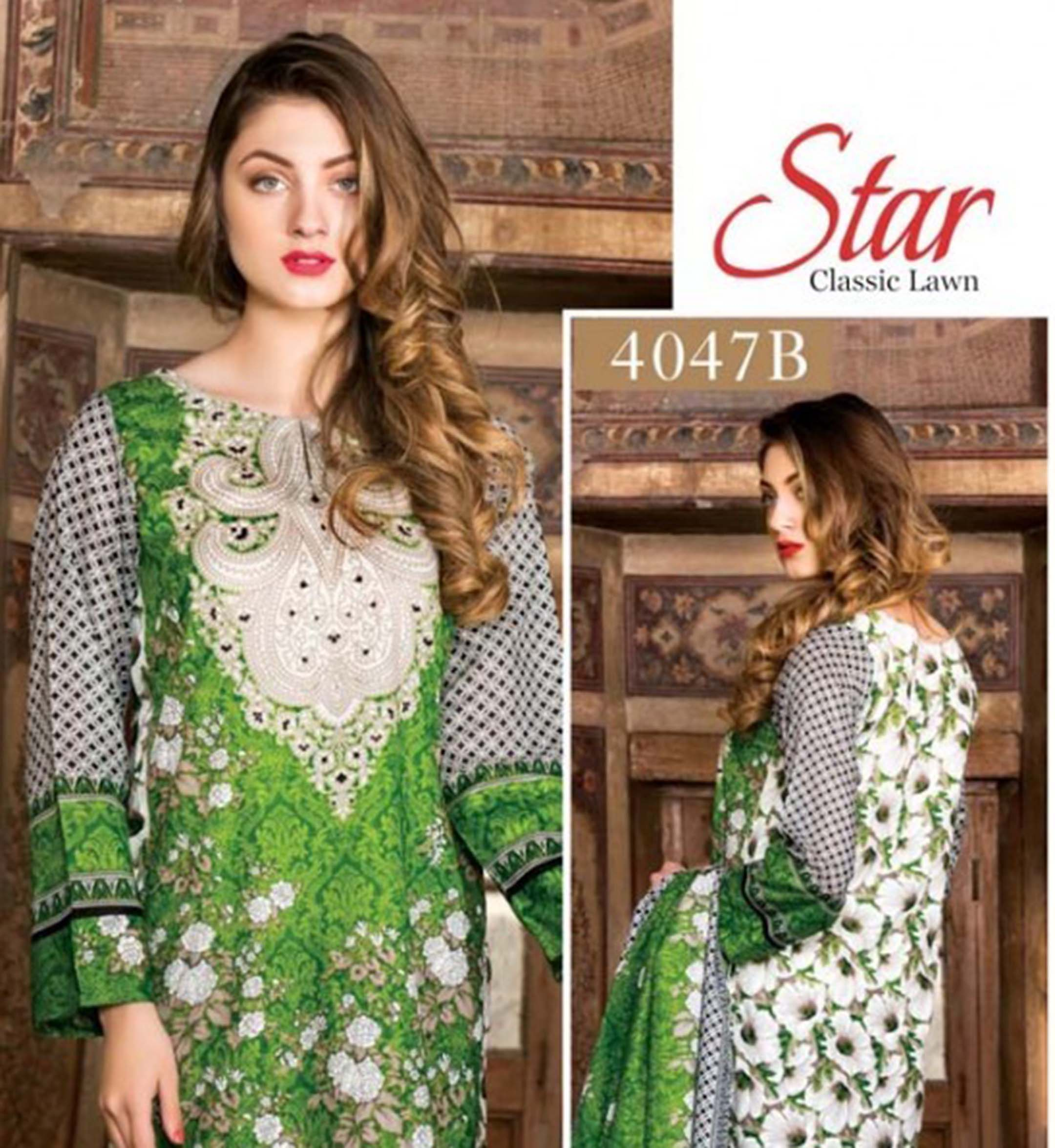 8439a961 Star Classic Green Lawn Suit - Nashiz Online