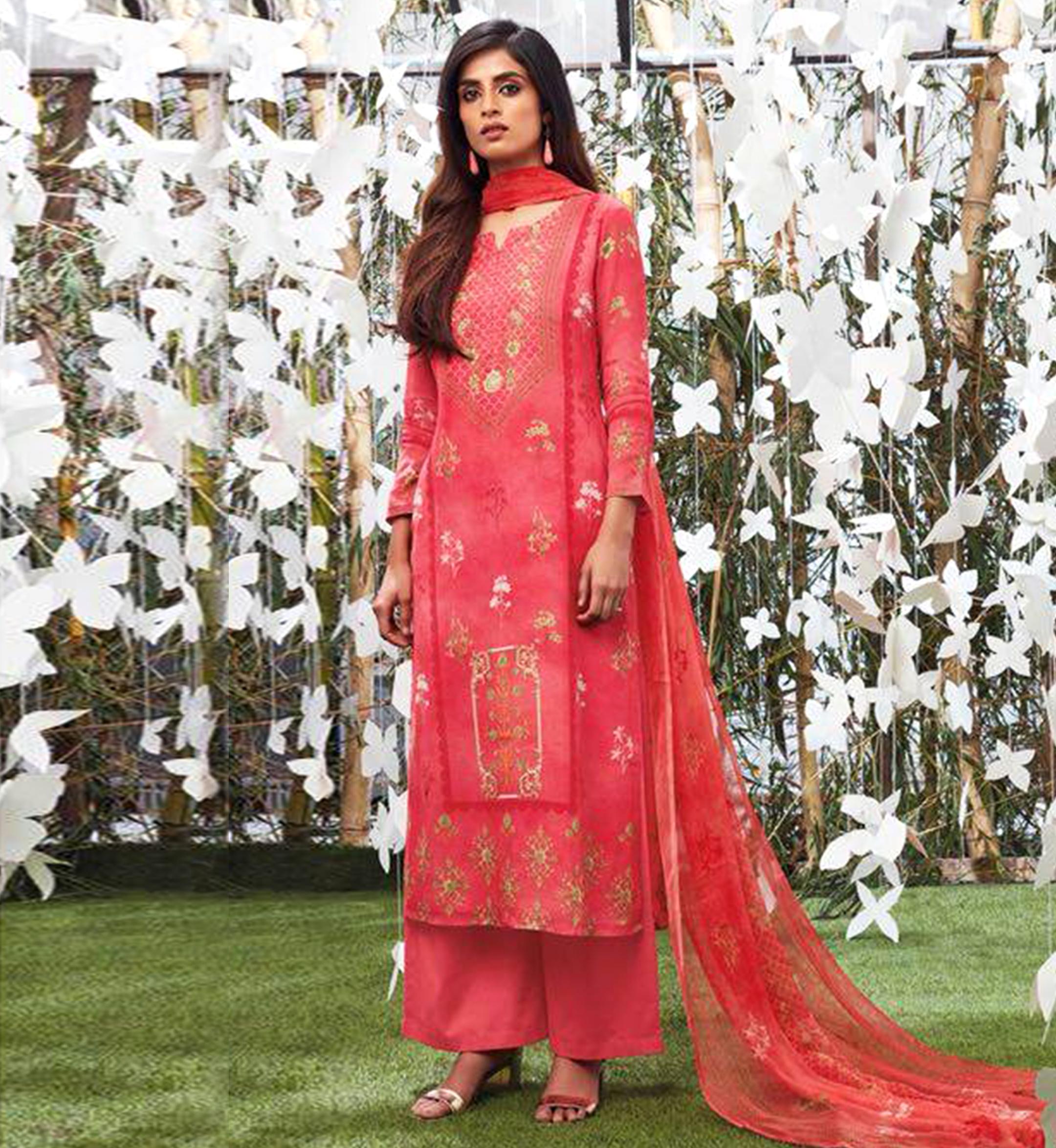 8d24b51417 Ganga Collection - Red Shalwar Suit - Nashiz Online