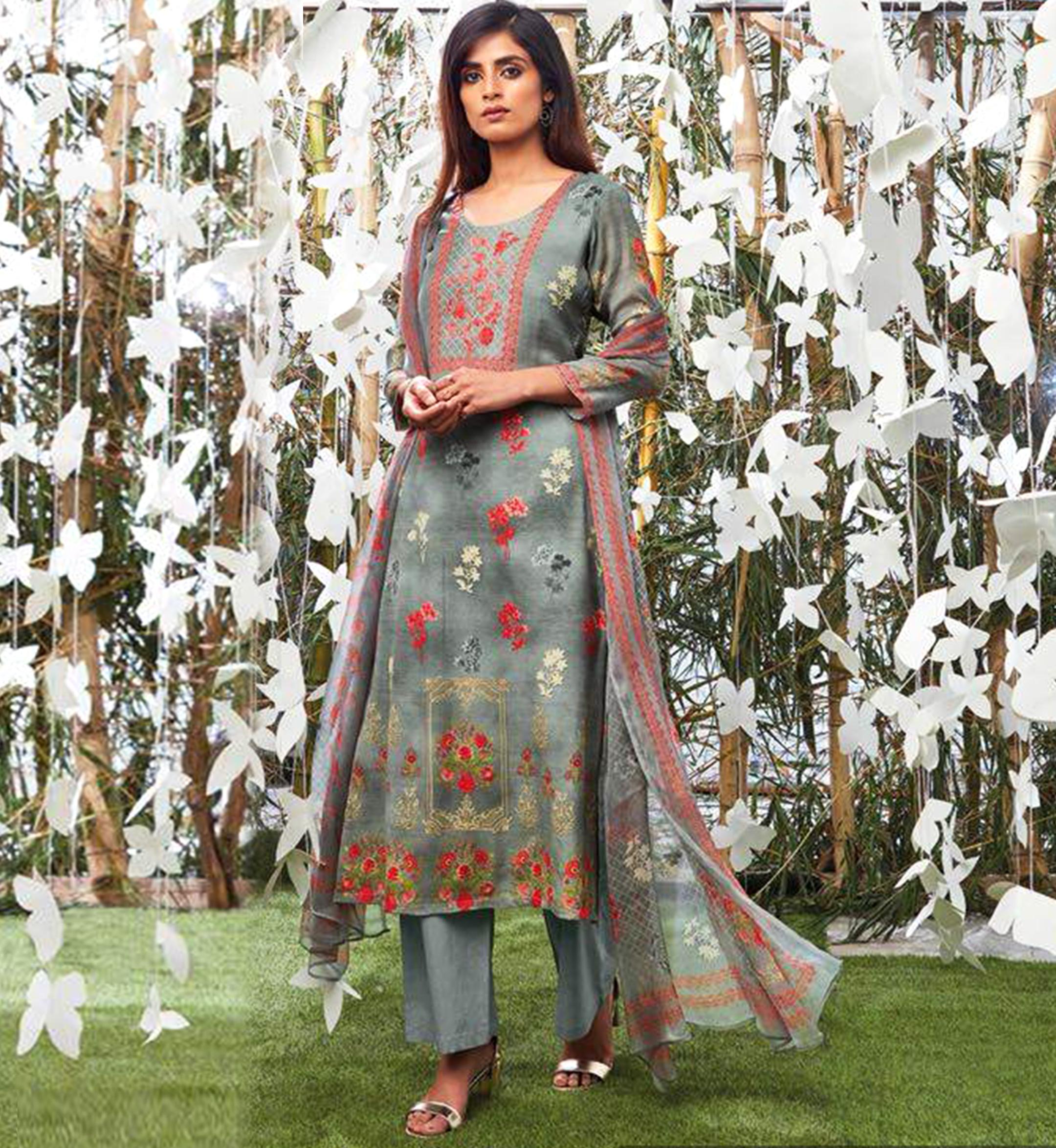 5a039907c8 Ganga Collection - Grey Shalwar Suit - Nashiz Online